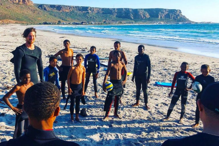 Teaching surfing skills to the 9 miles project kids in Elands Bay